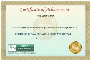 Basic HIPAA Training Certificate
