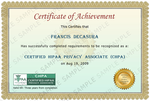 Hipaa overview training sample of chpa certificate yelopaper Gallery