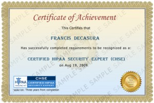 HIPAA Security Training Certificate