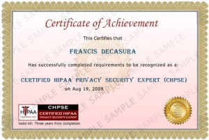 HIPAA Privacy Security Training Certificate