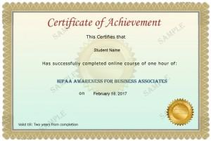 Business Associate Sample Certificate