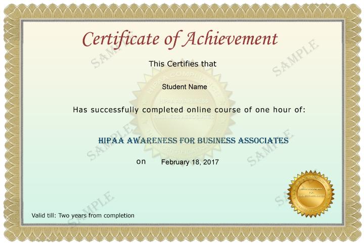 Business Associate Certificate Sample