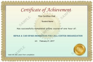 HIPAA CAN-SPAM Awareness for Call Center Organization Sample Certificate