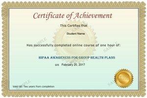 Group Health Plans Sample certificate