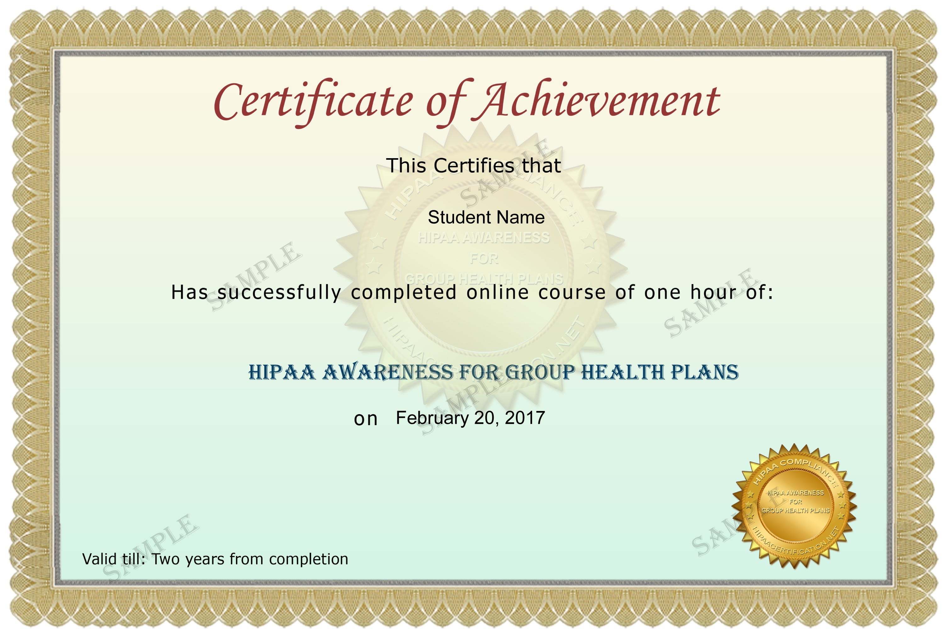 Hipaa awareness for group health plans group health plans sample certificate xflitez Gallery