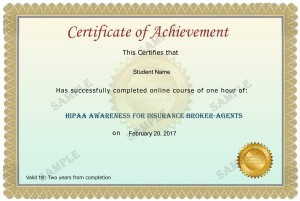 Insurance Broker-Agents Sample Certificate