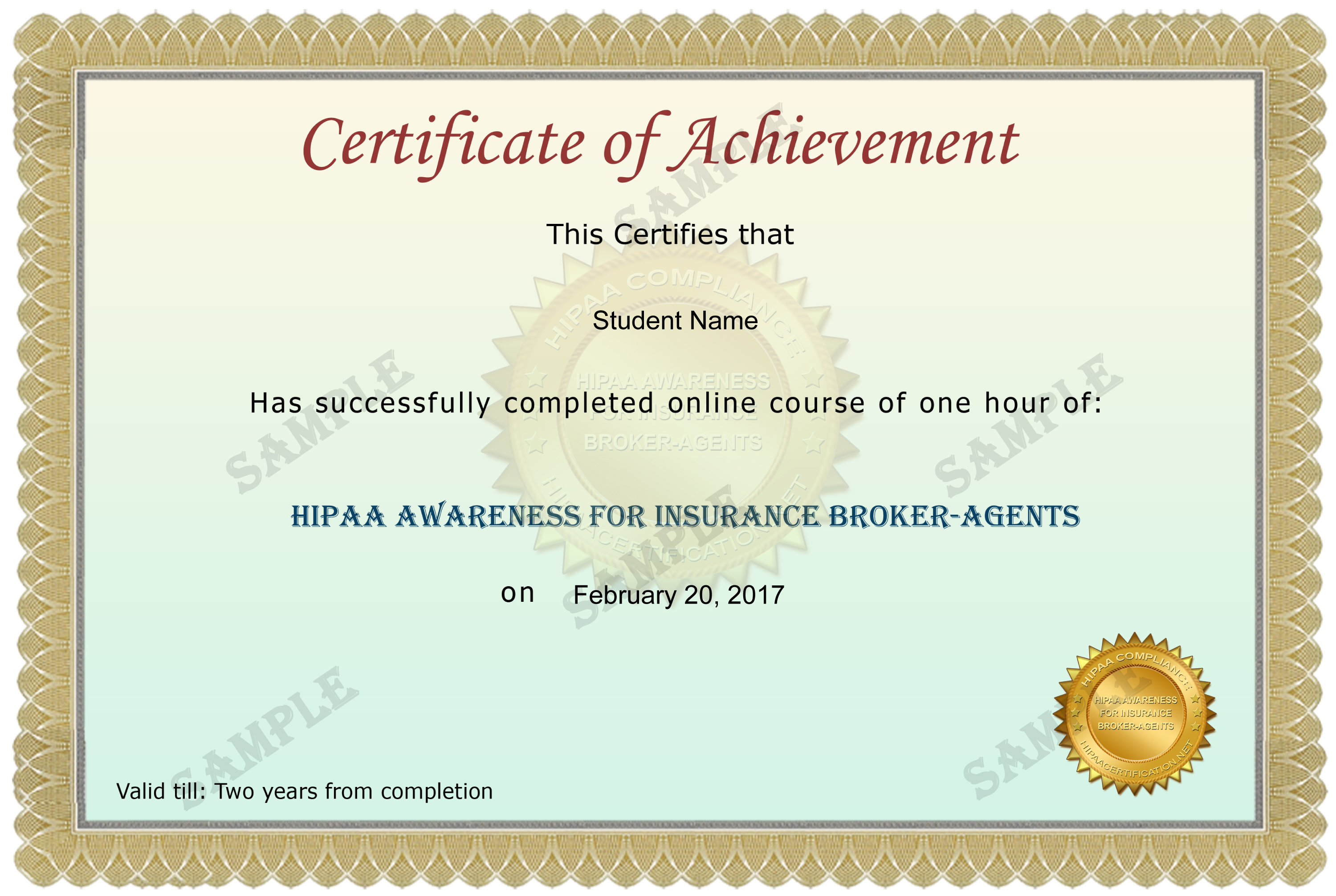 Insurance Broker-Agents Certificate Sample