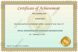 Research Organization Certificate Sample