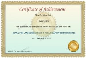 Law Enforcement & Public Safety Professionals Sample Certificate