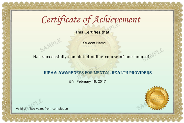 Mental Health Providers Certificate Sample