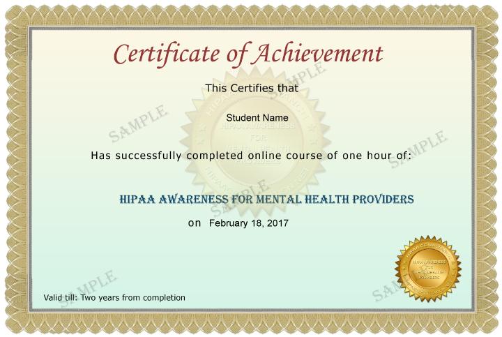 Mental Health Providers Certificate Sample